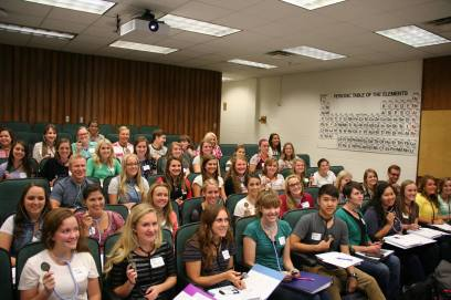 New students practice with stethoscopes in class.  Both Collin and Kourtney are on the third row from the bottom.
