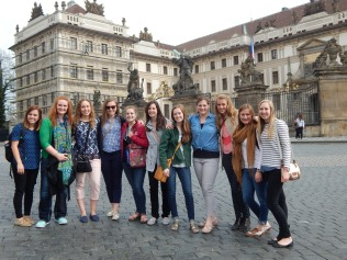 Cara and nursing students pause for a quick photo on their Prague tour. Students prepared for the trip by reading up on Prague history.